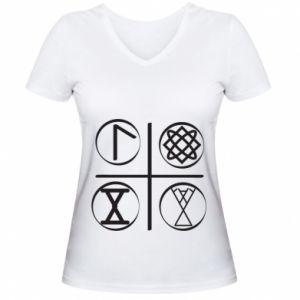 Damska koszulka V-neck Symbole