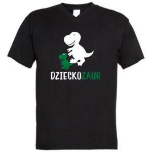 Męska koszulka V-neck Syn dinozaur