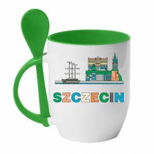 Kubek z ceramiczną łyżeczką Miasto Szczecin - PrintSalon
