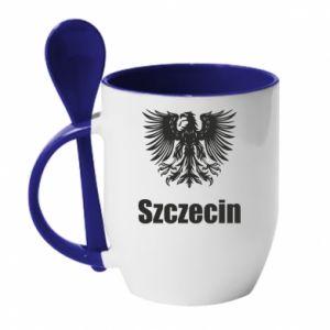 Kubek z ceramiczną łyżeczką Szczecin - PrintSalon