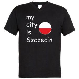 Męska koszulka V-neck My city is Szczecin
