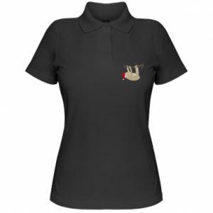 Koszulka polo damska Szczęśliwy leniwiec na gałęzi