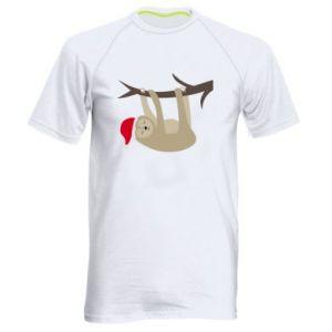 Koszulka sportowa męska Szczęśliwy leniwiec na gałęzi