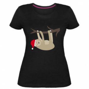 Damska premium koszulka Szczęśliwy leniwiec na gałęzi