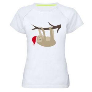 Koszulka sportowa damska Szczęśliwy leniwiec na gałęzi