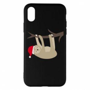Etui na iPhone X/Xs Szczęśliwy leniwiec na gałęzi