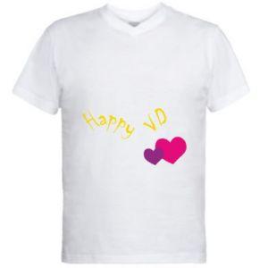 Męska koszulka V-neck Szczęśliwy walentynki - PrintSalon