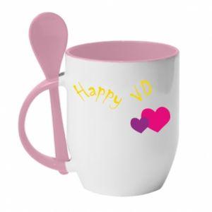 Kubek z ceramiczną łyżeczką Szczęśliwy walentynki - PrintSalon
