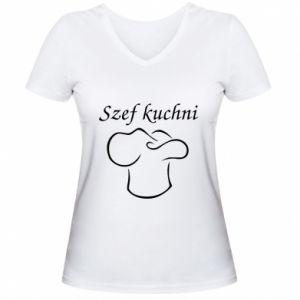 Damska koszulka V-neck Szef kuchni