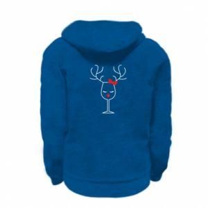 Kid's zipped hoodie % print% Glass deer