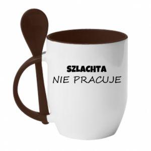 Mug with ceramic spoon Nobility - PrintSalon