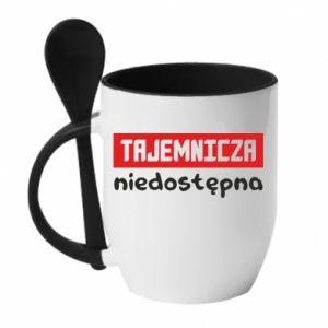 Mug with ceramic spoon Mysterious unavailable - PrintSalon