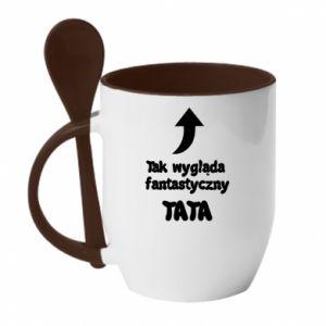 Kubek z ceramiczną łyżeczką Tak wygląda fantastyczny Tata