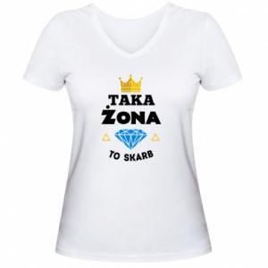 Damska koszulka V-neck Taka żona to skarb
