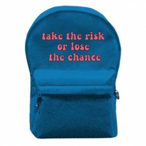 Plecak z przednią kieszenią Take the risk or lose the chance