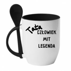 Kubek z ceramiczną łyżeczką Tata Człowiek Mit Legenda
