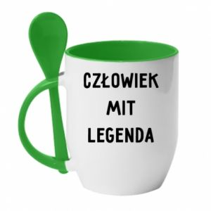 Mug with ceramic spoon Man, Myth... - PrintSalon