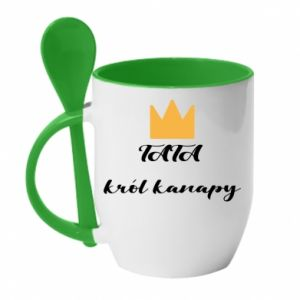 Mug with ceramic spoon Dad, king of the couch - PrintSalon