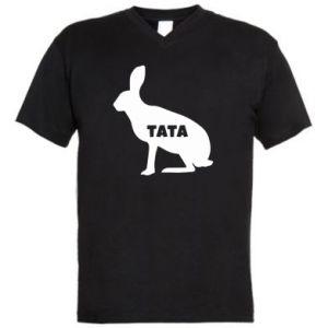 Męska koszulka V-neck Tata - królik