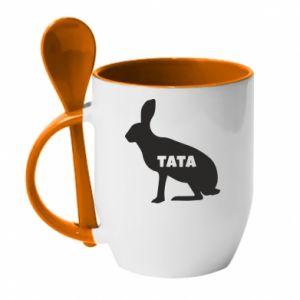 Kubek z ceramiczną łyżeczką Tata - królik