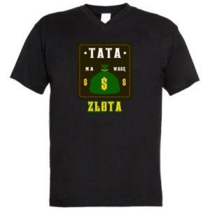 Męska koszulka V-neck Tata na wagę zlota