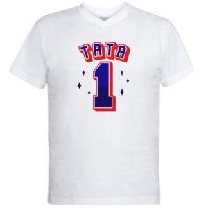 Men's V-neck t-shirt Father number 1 V2