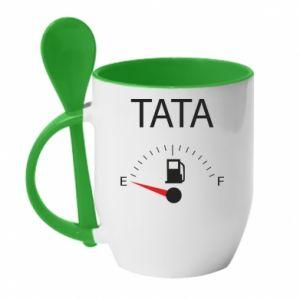 Mug with ceramic spoon Dad load - PrintSalon