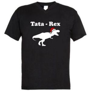 Męska koszulka V-neck Tata - rex