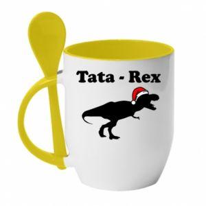 Kubek z ceramiczną łyżeczką Tata - rex