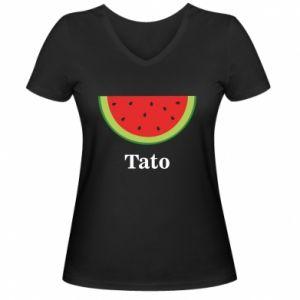 Women's V-neck t-shirt Tato arbuza - PrintSalon