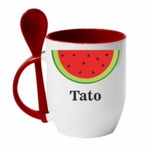 Kubek z ceramiczną łyżeczką Tato arbuza