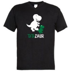 Męska koszulka V-neck Tato dinozaur