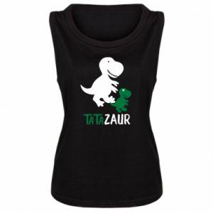Damska koszulka bez rękawów Tato dinozaur