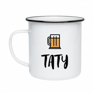 Enameled mug Daddy and beer