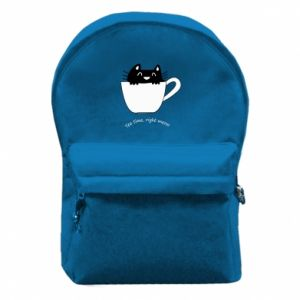 Backpack with front pocket Tea time, right meow - PrintSalon