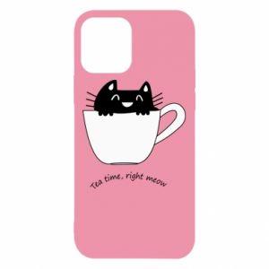 Etui na iPhone 12/12 Pro Tea time, right meow