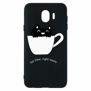 Samsung J4 Case Tea time, right meow