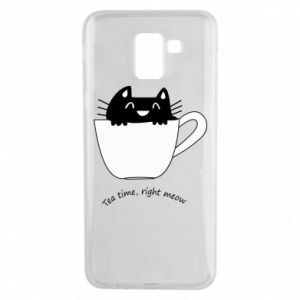 Samsung J6 Case Tea time, right meow