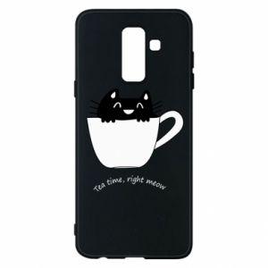 Phone case for Samsung A6+ 2018 Tea time, right meow - PrintSalon