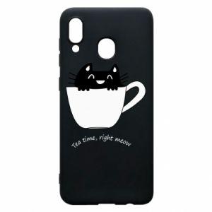 Phone case for Samsung A20 Tea time, right meow - PrintSalon