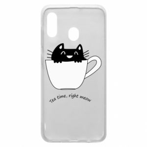 Phone case for Samsung A30 Tea time, right meow - PrintSalon