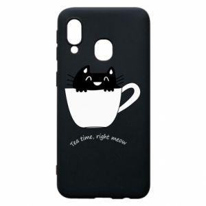 Phone case for Samsung A40 Tea time, right meow - PrintSalon