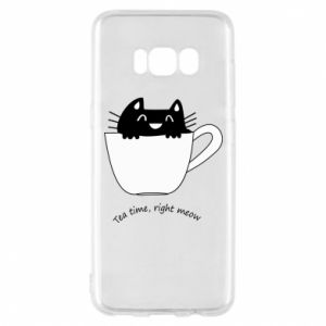 Samsung S8 Case Tea time, right meow