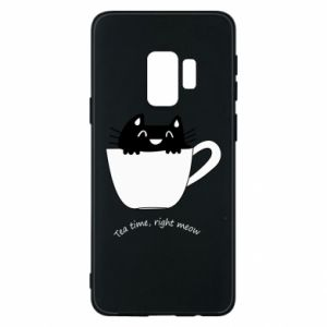 Samsung S9 Case Tea time, right meow