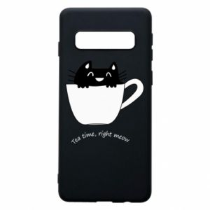 Samsung S10 Case Tea time, right meow