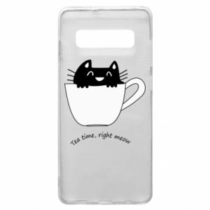 Samsung S10+ Case Tea time, right meow