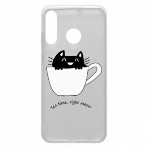 Phone case for Huawei P30 Lite Tea time, right meow