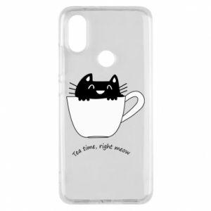 Phone case for Xiaomi Mi A2 Tea time, right meow - PrintSalon