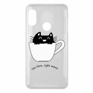 Phone case for Mi A2 Lite Tea time, right meow - PrintSalon