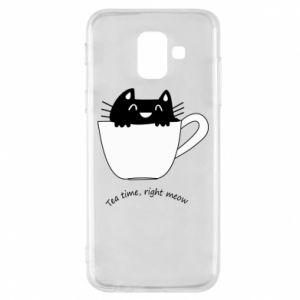 Phone case for Samsung A6 2018 Tea time, right meow - PrintSalon